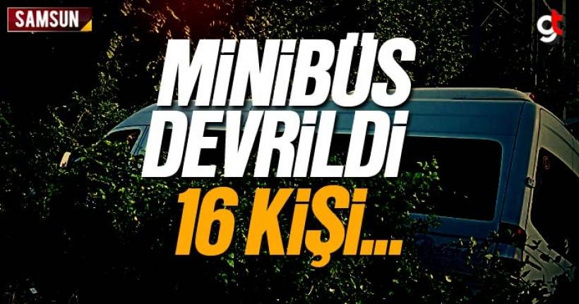 Samsun'da minibüs şarampole yuvarlandı
