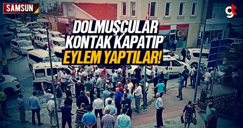Samsun Haber: Dolmuşçular kontak kapatıp eylem yaptılar