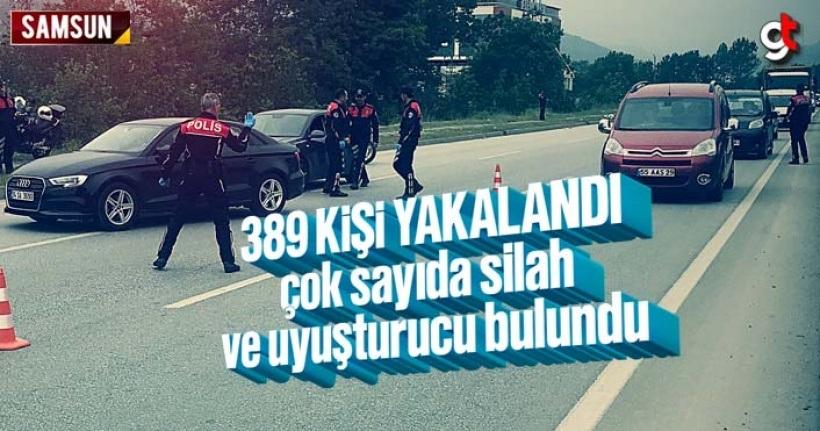 Samsun'da polis operasyonunda 389 kişi yakalandı, çok sayıda uyuşturucu ve silah ele geçirildi