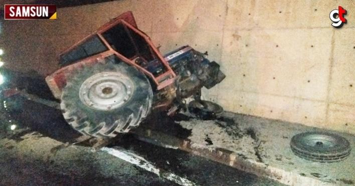 Samsun'da traktör ile kamyonet çarpıştı, 2 kişi yaralandı