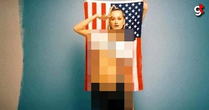 Didem Soydan'ın ABD bayrağı önündeki iç çamaşırsız pozu olay oldu