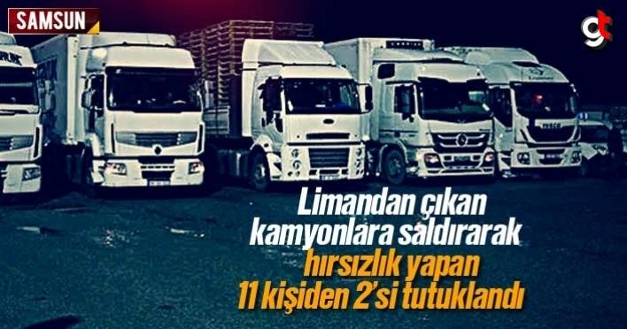 Limandan çıkan kamyonlara saldırarak hırsızlık yapanlar tutuklandı