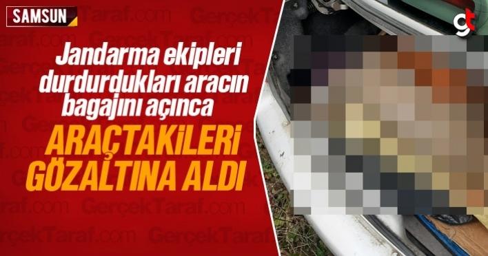 Samsun'da aracın bagajını açınca 2 kişiyi gözaltına aldı