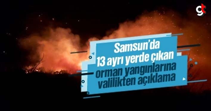 Samsun'da ayrı yerlerde çıkan 13 orman yangınına valilik açıklama yaptı
