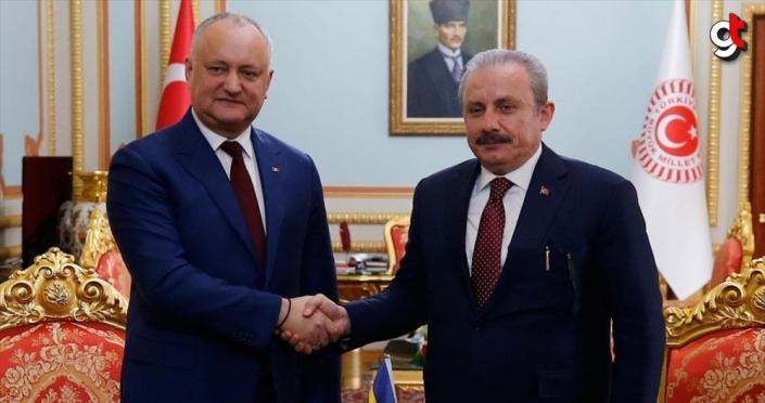 TBMM Başkanı Şentop, Moldova Cumhurbaşkanı Dodon ile bir araya geldi