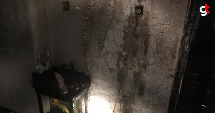 Televizyon tüpünün patlaması sonucu yangın çıkan evde hasar oluştu
