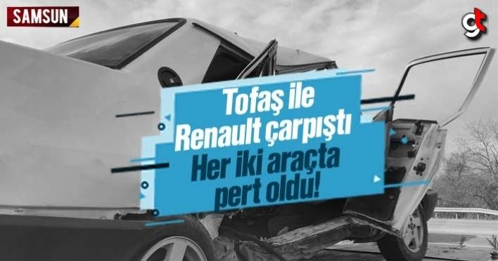 Tofaş ile Renault çarpıştı, iki araçta pert oldu