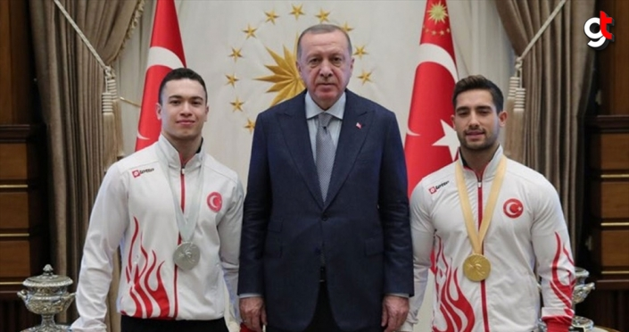 Cumhurbaşkanı Erdoğan, milli cimnastikçileri kabul etti