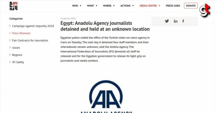 Uluslararası Gazeteciler Federasyonu'ndan Mısır'a AA çalışanlarının serbest bırakılması çağrısı