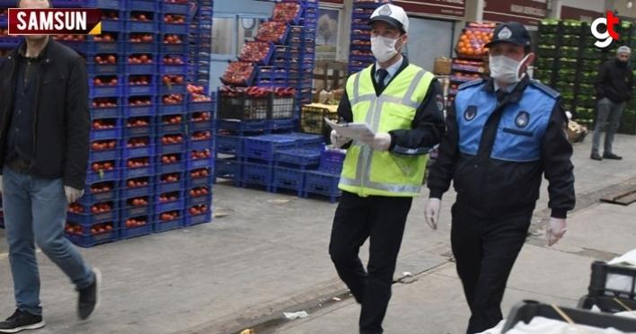 Samsun'da meyve sebze hal satışlarına koronavirüs baskını