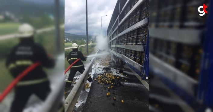 Bolu'da seyir halindeki limon yüklü tırda yangın çıktı