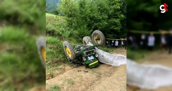 Samsun'da devrilen traktörün sürücüsü öldü, 2 kızı yaralandı