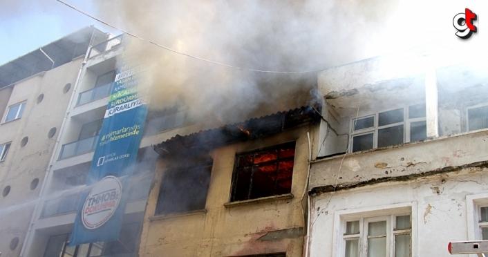 Samsun'da metruk binada çıkan yangın hasara yol açtı