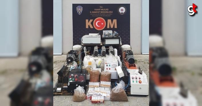 Tokat'ta kaçak sigara imal ettikleri iddiasıyla 3 kişi yakalandı