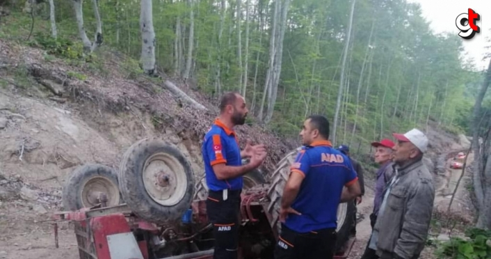 Zonguldak'ta devrilen traktörün altında kalan sürücü öldü