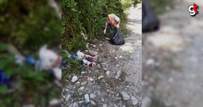 Doğa harikası Samsun Gölalan Şelalesi'nden 150 kilogram çöp toplandı