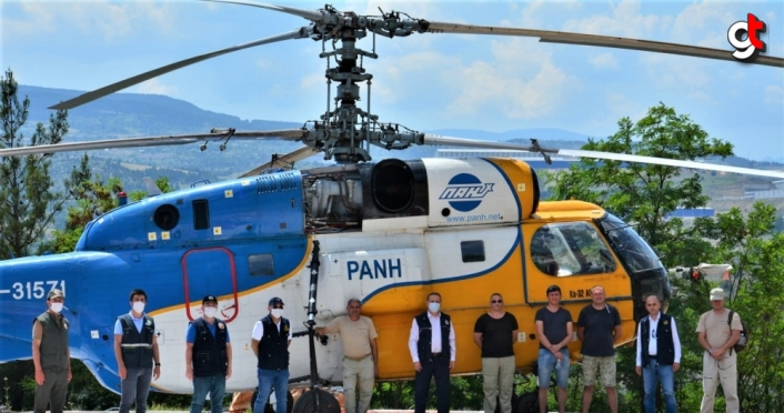 Karabük'te yangın söndürme helikopteri göreve başladı