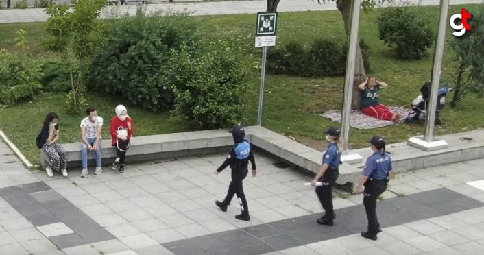 Maskesiz şekilde emniyet drone'nuna el sallayan gençler cezadan kurtulamadı