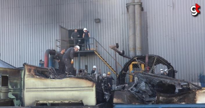 Bolu'da bir fabrikanın su soğutma kulelerinde çıkan yangın söndürüldü