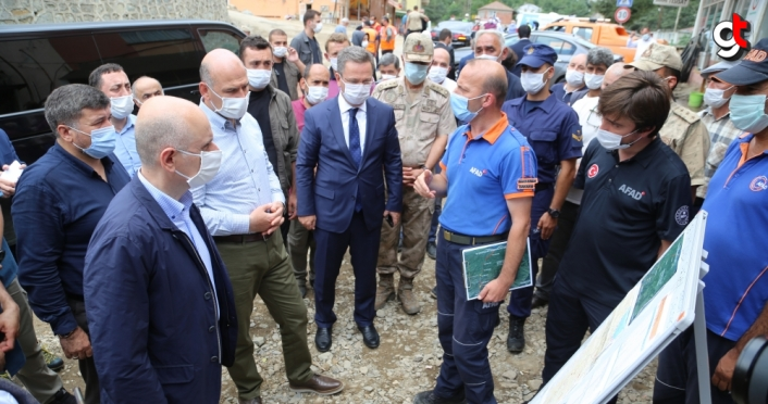 Bakanlar Soylu ve Karaismailoğlu Giresun'da incelemelerde bulundu