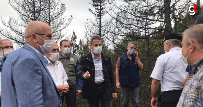 Çorum ve Sinop arasındaki ormanlık alanda çıkan yangın yavaşladı