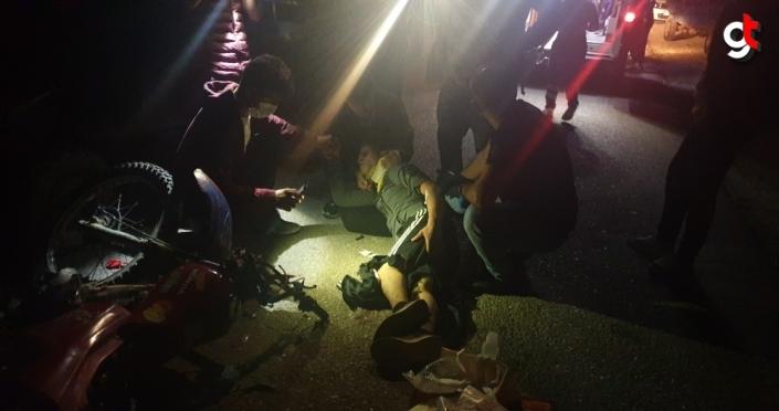 Düzce'de tarım aracı ile motosikletin çarpışmasıyla 3 kişi yaralandı