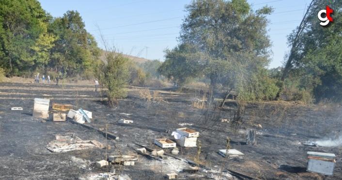 Samsun'da anız yangınının sıçraması sonucu ahır, samanlık ve garaj yandı
