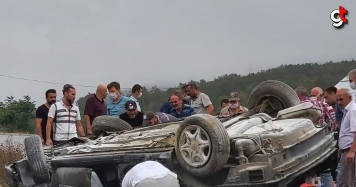 Samsun'da sulama kanalına devrilen otomobildeki 3 kişi yaralandı