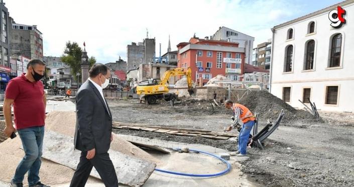 Samsun'un Saathane Meydanı, peyzaj çalışmasının ardından ziyaretçilerini tarihte yolculuğa çıkaracak