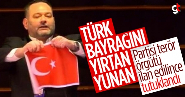 AP'de Türk bayrağını yırtan Yunan ırkçı vekil Yiannis Lagos tutuklandı