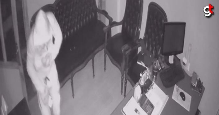 Aynı iş yerine üçüncü kez giren hırsızlık zanlısı güvenlik kameralarınca görüntülendi