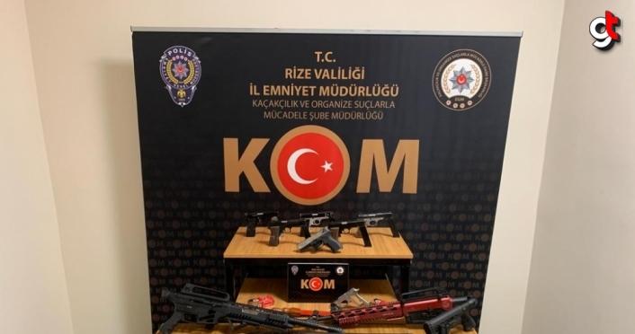 Rize'de silah kaçakçılığı ve nitelikli dolandırıcılık operasyonunda 7 kişi yakalandı