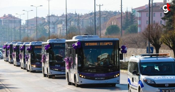 Safranbolu'da yeni halk otobüsleri hizmete alındı