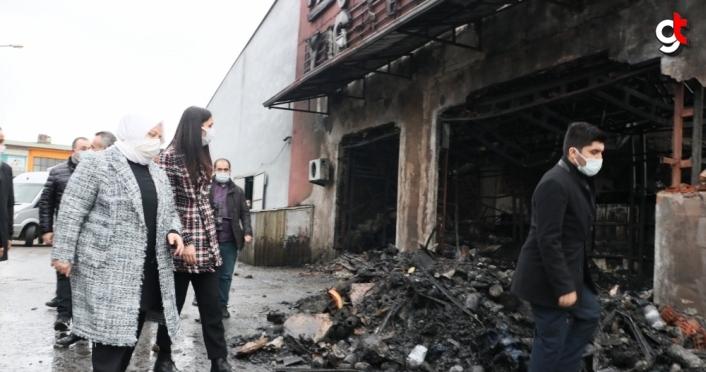 Bakan Zehra Zümrüt Selçuk'tan iş yerleri yanan esnaflara ziyaret