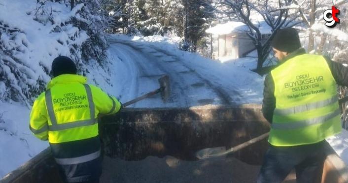 Ordu'da karla mücadele ekipleri çalışmalarını sürdürüyor