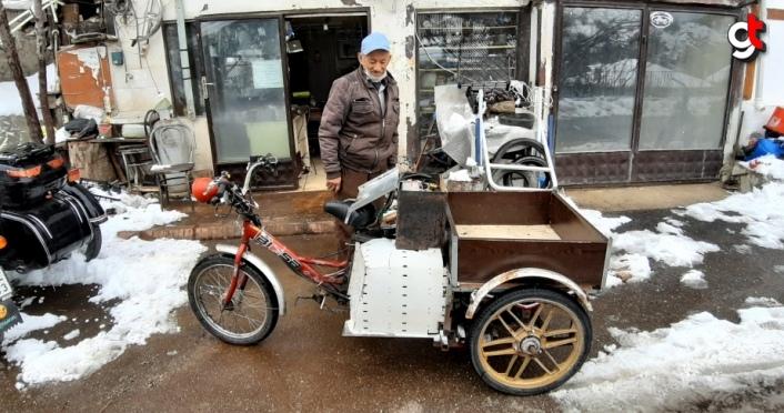 Bolulu motor ustası üç tekerlekli bisiklete motor taktı