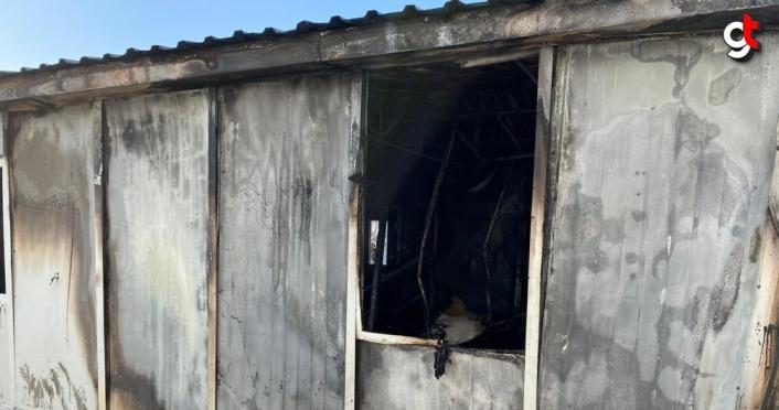 Düzce'de işçilerin kaldığı konteynerde çıkan yangın söndürüldü