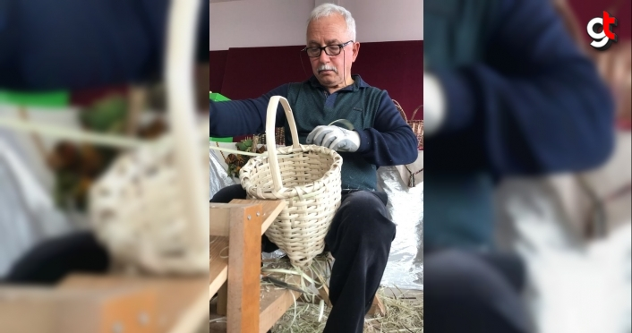 Fındık çubuğundan yaptığı sepet ve ürünler yoğun ilgi görüyor