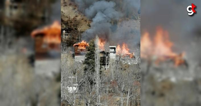 Artvin'de çıkan yangında 5 ev kullanılamaz hale geldi
