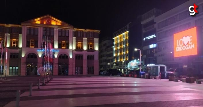 """Ordu'da """"Love Erdoğan"""" görseli LED ekranlara yansıtıldı"""