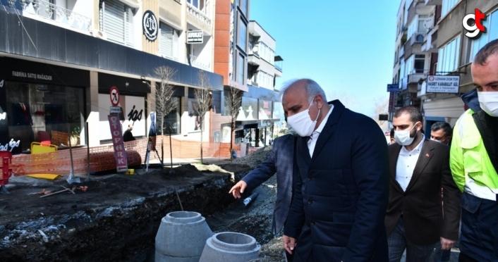 Büyükşehir Belediye Başkanı Zorluoğlu, Gazipaşa Caddesi'ndeki altyapı çalışmalarını inceledi