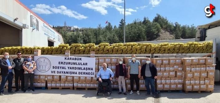 Karabük Erzurumlular Derneği, ihtiyaç sahiplerine ulaştırılmak üzere gıda kolisi yardımında bulundu