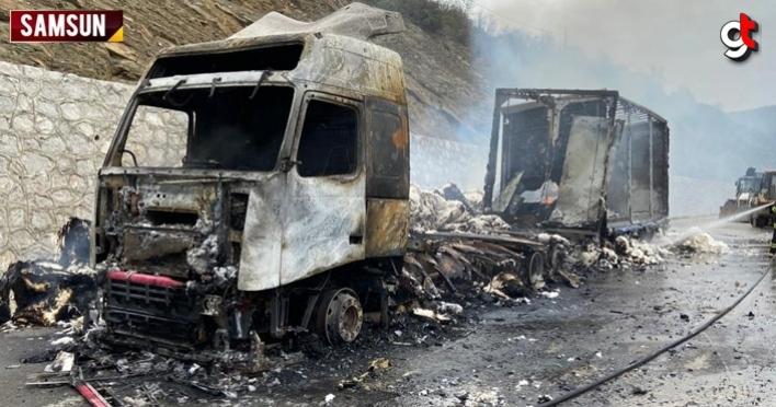 Samsun'da pamuk yüklü yabancı plakalı tır yandı