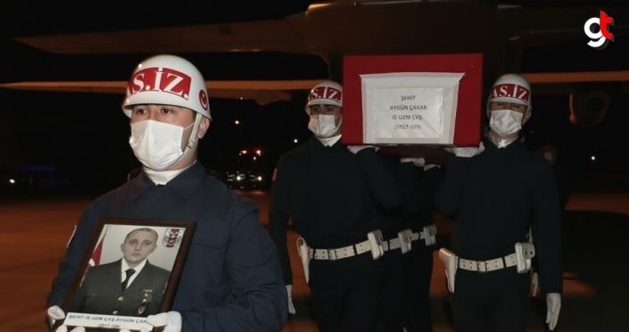 Şehit Uzman Çavuş Çakar'ın cenazesi Samsun'a getirildi