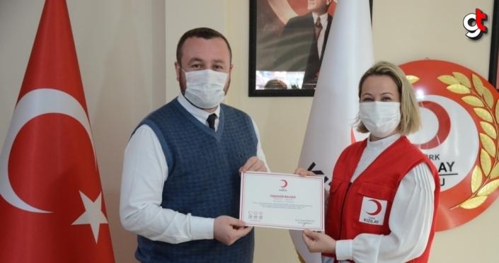 Türk Kızılay Ordu Şubesi'nden bazı basın kuruluşlarına teşekkür belgesi