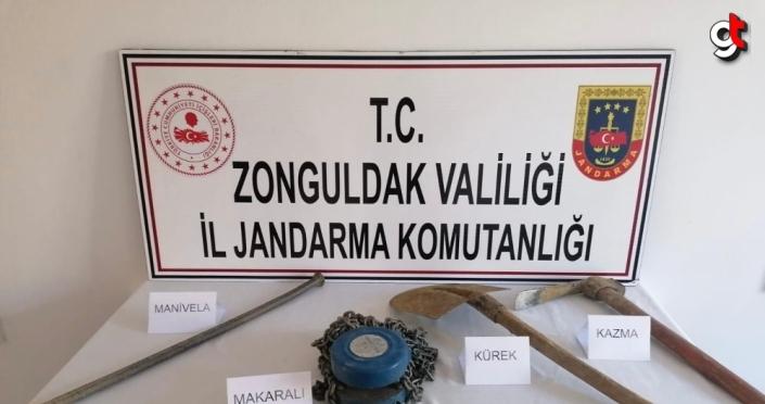 Zonguldak'ta kaçak kazı yapan 3 kişi suçüstü yakalandı