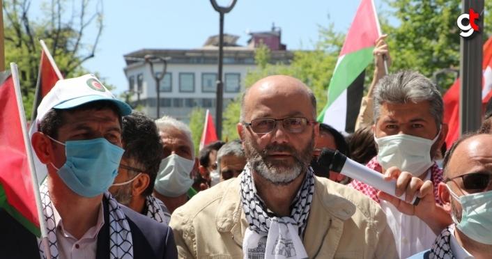 İsrail'in Mescid-i Aksa'ya yönelik saldırıları Trabzon'da protesto edildi
