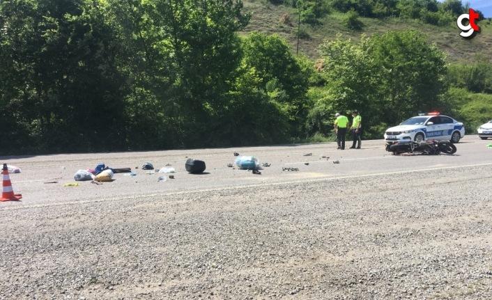 Bartın'da otomobille çarpışan motosikletin sürücüsü yaralandı