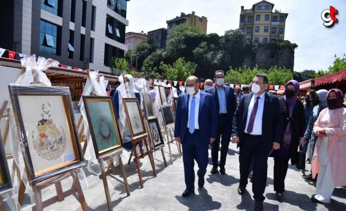 Trabzon'da çeşitli kursların sona ermesi dolayısıyla yıl sonu sergisi açıldı