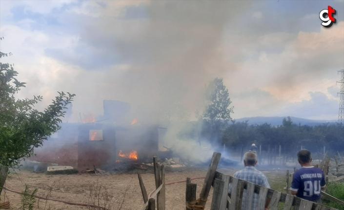 Düzce'de çıkan yangında hayvan besi çiftliği kullanılamaz hale geldi